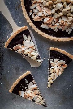 """Chocolate, Coconut, Macadamia Nut Tart Recipe (Gluten-Free, Paleo, Vegan)    @  Gourmande in the Kitchen  """"This chocolate coconut tart is dense, silky, utterly simple and guaranteed to fulfill your chocolate cravings."""""""