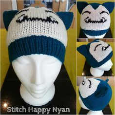 Knitted Pokemon character hat (Snorlax). For cosplay or just for fun!