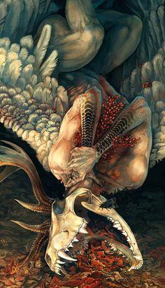 """Denialism"" by NukeRooster @ deviantart Arte Horror, Horror Art, Dark Fantasy Art, Dark Art, Fantasy Creatures, Mythical Creatures, Arte Obscura, Macabre Art, Goth Art"