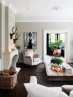 Stone fireplace, color palette, texture