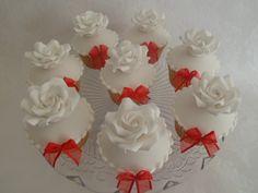 Mini sugar rose cupcakes, for ruby wedding anniversary, designed and made by Carpel's creative cakes (on facebook) Anniversary Cupcakes, Ruby Wedding Anniversary, Sugar Rose, Creative Cakes, Facebook, Mini, Desserts, Design, Tailgate Desserts