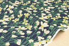 Japanese Fabric Seersucker Violets  navy blue  50cm