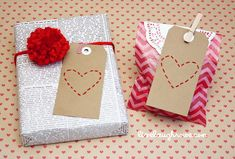 DIY Stitched Heart Valentine Tags with LiveLaughRowe.com