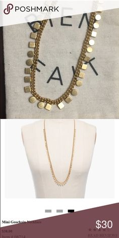 """Madewell Mini Geochain Necklace Super cute long necklace from Madewell.  I don't think I actually ever wore it and it is in perfect condition.  It's a nice vintage gold that can be dressed up or dressed down.  Total chain length is 31"""". Madewell Jewelry Necklaces"""
