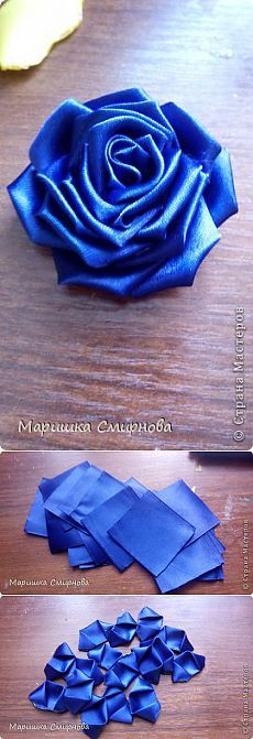 This Pin was discovered by Jos Satin Ribbon Flowers, Ribbon Art, Diy Ribbon, Fabric Ribbon, Ribbon Crafts, Lace Flowers, Flower Crafts, Fabric Roses, Kanzashi Tutorial