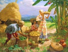 Family gathering fruit sold by Christie's, Hong Kong, on Monday, November 2009 Arte Filipino, Filipino Culture, Philippine Art, Philippines Culture, Canvas Painting Landscape, Fruit Painting, Watercolor Sketch, Vintage Artwork, Pictures To Paint