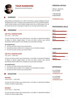 gastown2 free professional resume template red