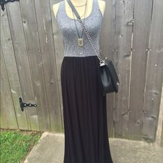 Lou & Grey two tone maxi dress Size xs! Grey stretchy top and black gauze like material on bottom. So flowy and cute. New without tags, never got around to wearing this one no trades make an offer!✅ oh & follow me on Instagram @BeThriftyChic  Lou & Grey Dresses Maxi
