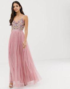 2aff69cc Maya cami strap contrast embellished top tulle detail maxi dress in vintage  rose Latest Dress,