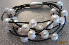 Genuine white freshwater pearl bracelet on by PearlnLeatherJewelry, $18.00