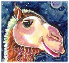 Smiling Camel-- Artist Signed Watercolor Print
