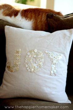 JOY Button Christmas Pillow