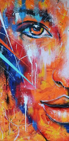 "I found this abstract art absolutely intriguing. Love it! Artist: NeverLookBackk on Deviant Art. ""Fire"" 48"" x 28""  Acrylics, Correction Fluid, Spray Paints and Paint Markers on Canvas.  Fire and Ice - Robert Frost  Some say the world will end in fire, Some say in ice. From what I've tasted of desire I hold with those who favor fire. But if it had to perish twice, I think I know enough of hate To say that for destruction ice Is also great And would suffice."