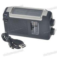 Solar Power + Hand Cranked Portable AM/FM Radio