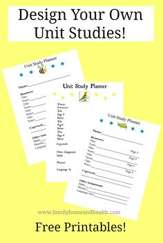 Free unit study printables! Use books and resources that you love to teach your children.
