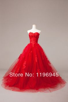 Free Shipping Cheap Sweetheart Red Ball Gown Wedding Dress 2014 Appliques Tulle Court Train-in Wedding Dresses from Apparel & Accessories on...