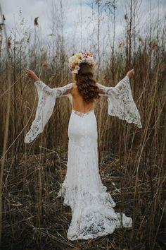 Backless lace sleeve wedding dress by Rue De Seine. Images by Magda K Photography  #ruedeseine #modernbride #bohobride #weddingdress #weddinggown #bridalgown #bridaldesigner #weddingfashion #weddingstyle #longsleevedweddingdress #laceweddingdress #backless