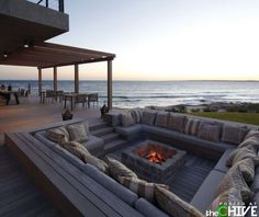 Sunken firepit, complete with couches.
