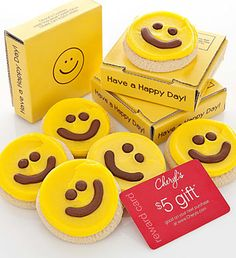 Cheryl's Have a Happy Day Cookie Card- sweet individually wrapped buttercream frosted happy face cookie tucked inside a cheerful box $5.00 #100daysofhappy #happy #smileyfaces #cookies