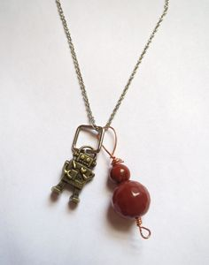 Mini robot pendant necklace with genuine red Jasper and Agate.  $22, free US shipping.