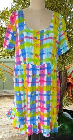 JAMS WORLD Aloha Hawaiian HATTIE Button Down Tiered Hem Dress Large EXCELLENT in Dresses | eBay