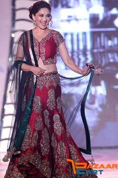 Madhuri Dixit in Red Bollywood Designer Lehenga