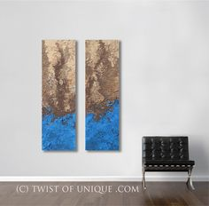 River delta Industrial Abstract painting / CUSTOM 2 panel (55 Inches x 15 Inches) Industrial Wall Art / Blue, brown, black