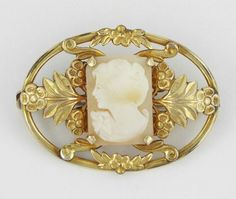 Adorna Vintage Shell Cameo Gold Filled Brooch