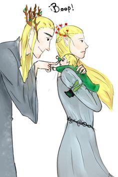 Thranduil and Ellerian and Legolas