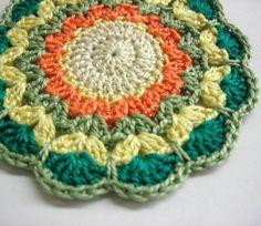 Handmade crocheted mandala flower motif applique by KikamoraCrafts, $4.50