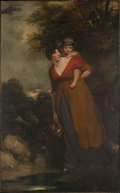 A most unusual and intimate pose for a well-to-do mother (though posing as a countrywoman) | 1797 | Mrs. Richard Brinsley Sheridan (Hester Jane Ogle, 1775/76–1817) and Her Son (Charles Brinsley Sheridan, 1796–1843)
