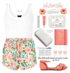 """""""06.10.15"""" by theblondemacaroon ❤ liked on Polyvore featuring Bonnibel, Kate Spade, Moleskine, Lancôme, bkr, Adina Reyter, tanktop, top, Tank and newlook"""