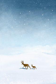 Deer Illustration, Winter Illustration, Landscape Illustration, Blue Poster, New Poster, Winter Drawings, Cute Christmas Decorations, Snow Effect, Snow Light