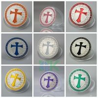 Colour knights templar cross set of silver plated coins