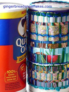 Weaving on Recycled containers #4 by gingerbread_snowflakes, via Flickr