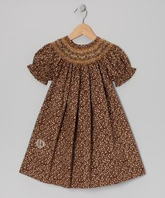 Another great find on #zulily! Brown English Monogram Bishop Dress - Toddler & Girls by Monogrammables by Rosalina #zulilyfinds
