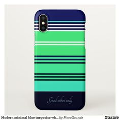 Modern minimal blue turquoise white stripe custom iPhone x case Phone Covers Online, Spa Accessories, Custom Iphone Cases, Love Blue, New Phones, Stripes Design, Back To School, Mothers, Coastal