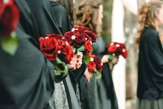 Grey red and black wedding, DIY Brooch bouquets, flowers by afloral.com photo by ariusphoto.com