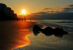 Sunset on Playa Murcielago in Manta, Ecuador.