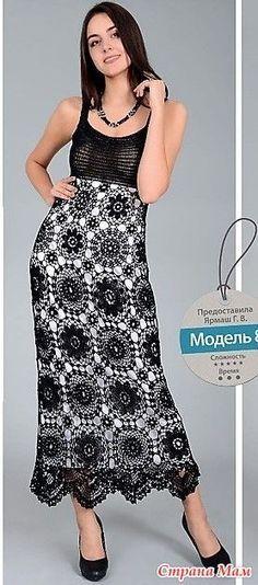 Это платьесарафан смотрится очень эффектно и нарядно. Оно имее завышенную талию а юбка выполненна круглыми мотивами разного размера и узора. http://www.liveinternet.ru/