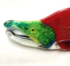 Fused Glass Sockeye Salmon. This is a one of a kind fused glass fish. The fish was made with multiple layers of hand cut art glass that adds not