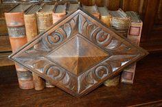 Antique French Carved Oak Wood Architectural Diamond Medallion Pediment Trim by VintageFleaFinds on Etsy