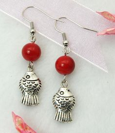Fashion Earrings, with Tibetan Style Pendant, Glass Beads and Brass Earring Hook, Red, 45mm