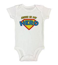 "Cute Kids Jesus Onesie "" Jesus Is My Hero "" - Superhero Baby Boutique - Funny Kids Clothing - Rompers and Bodysuits - Baby Gift - 227"