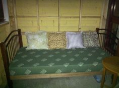 Day bed almost done, just the back panel to make then the staining...Just testing custom mattress for size! Perfect! :-)