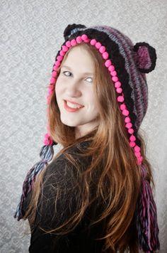 Caciula tricotata-crosetata Lovely Bear (70 LEI la irinaindira.breslo.ro)