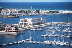 """Aerial view of the Yacht Harbour Residence """"Yachthafenresidenz Hohe Düne"""" at the Baltic Sea in Rostock"""