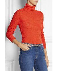 Open Knit Turtleneck Sweater. Orange Turtleneck by M Missoni