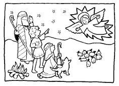 Coloring Angel Telling Shepherds about Jesus Birth  Kids