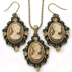 Brown Cameo Necklace Fashion Jewelry Set Pendant Charm Dangle Drop Earrings
